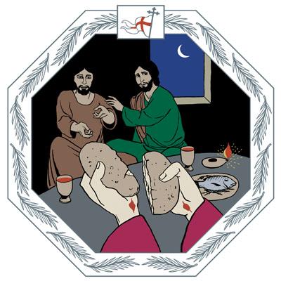 Muukalainen murtaa leivän. Hänestä näkyvät vain kädet, joissa on nähtävissä naulanjäljet. Pöydän toisella puolella istuvat Kleopas ja hänen toverinsa häkeltyvät tunnistaessaan hänet.