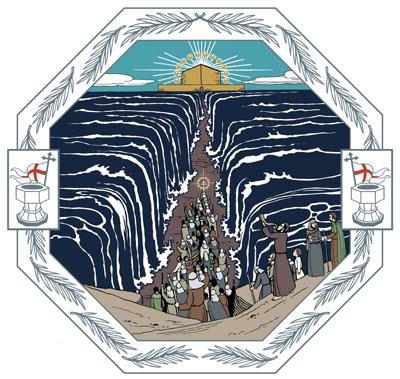 Meren vedet ovat jakautuneet ja sen keskelle on auennut tie, jota pitkin riemuitseva joukko kulkee kohti kaukana siintävää uutta Jerusalemia.