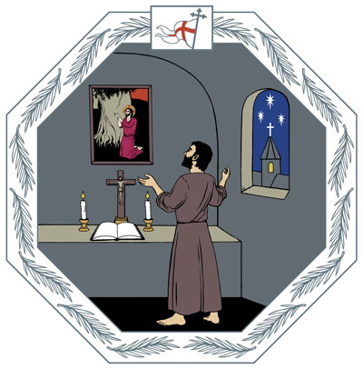 Yksinäisessä kammiossa rukoilija on asettanut eteensä pöydälle raamatun, krusifiksin ja kaksi kynttilää.