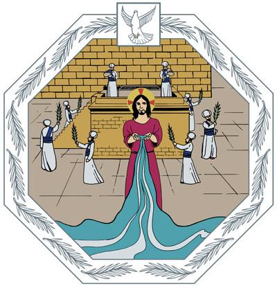 Jeesus seisoo temppelin edustalla ja kohottaa kaksi kättään kuin maljaksi, josta elämän vesi virtaa kuin joki. Taustalla uhrialttari, jolle papit vuodattavat Siiloan lähteen vettä.