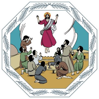 Opetuslapset ovat aterioimassa ulkona, kun taivaasta laskeutuva pilvi tempaa Jeesuksen heidän keskeltään ja nostaa hänet taivaaseen.