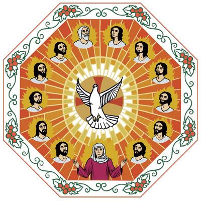 Kaksitoista opetuslasta ovat tulenlieskojen ympäröimiä. Heidän keskellään on Maria, Jeesuksen äiti sekä Pyhää Henkeä edustava valkoinen kyyhkynen.