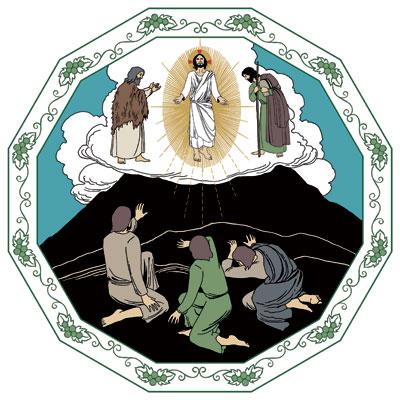 Vuorella Jeesus saa mahtavan, valonhohtoisen hahmon, jota ihmetyttää opetuslapsia. Mooses ja Elia kumartavat häntä.