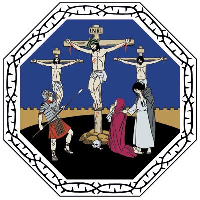Kaupungin muurin ulkopuolella kohoaa kolme ristiä, joita vartioi roomalainen sotilas keihäineen. Jeesuksen ristin juurella ovat Maria ja Johannes.